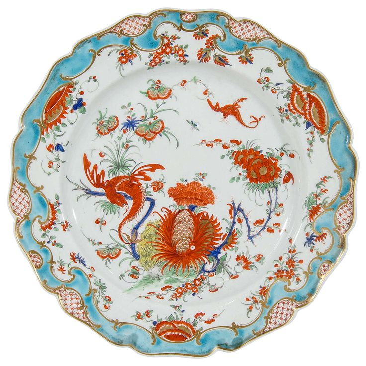 $4,200.00. Pair of Rare Dr. Wall First Period Worcester Jabberwocky Pattern Plates | From a unique collection of antique and modern dinner plates at https://www.1stdibs.com/furniture/dining-entertaining/dinner-plates/
