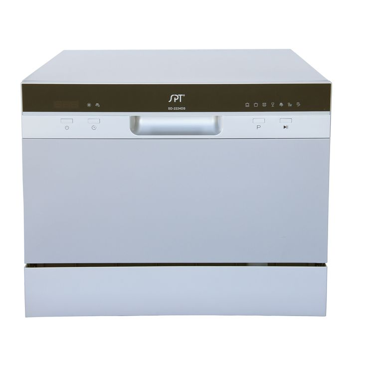 haier portable dishwasher. spt 6 place setting silver countertop dishwasher with delay start (6 haier portable