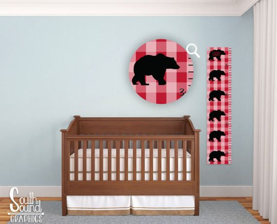 Growth Chart for Boys - Plaid Black Bear Room Wall Decor - Custom Wall Hanging - Children's Personalized Growth Chart Ruler - Kids Bedroom