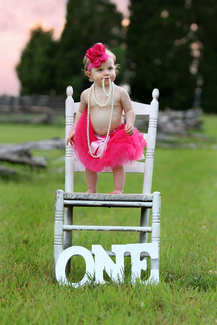 1st birthday picture!!!  Adalynn is the cutest model.