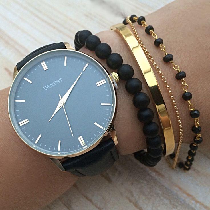 Armband horloge set Zwarte Goud