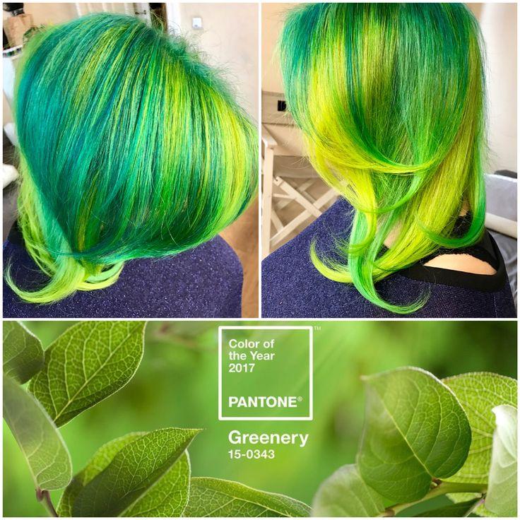 #hair #greenery #Pantone #coloroftheyear #2017 #jbeverlyhills #hair-color #1concept #yourbeautymasters