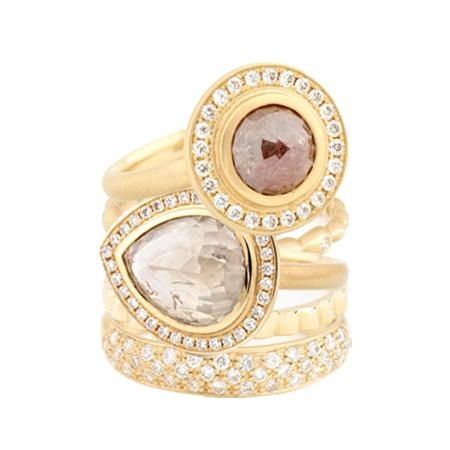 """""""Five Golden Rings""""    There's still time to drop a hint (or two)...     """"Share"""" this if you want something golden under your tree this year!    #diamond #ring #jewellery #sparkles #AnneSportun"""