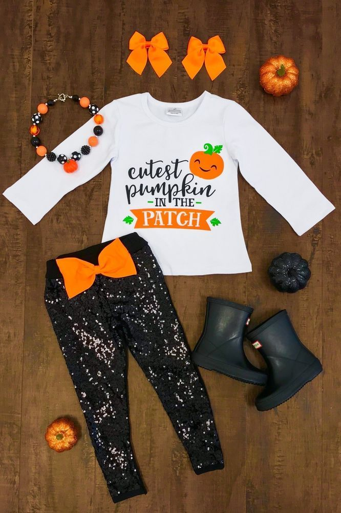 94e09209ccd9 USA Girls Halloween Outfit Toddler Kids Clothing Girls 2 PC Boutique Pants  Set #HalloweenDressyEveryday