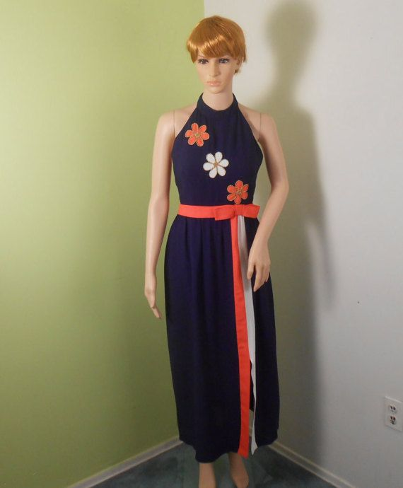Womens Halter Maxi Dress Blue With Orange & by VintageElations