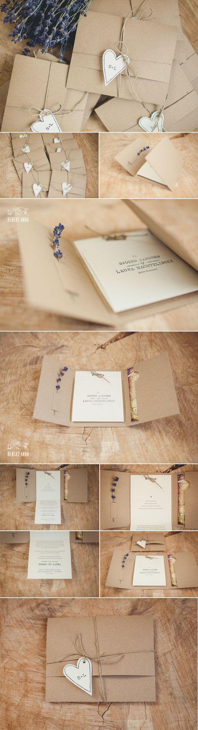 Rustieke trouwkaart voor Sjoerd en Laura