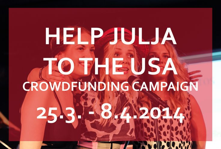 Help JULJA to the USA!  12 days left! https://www.indiegogo.com/projects/julja-to-the-usa/x/6846017