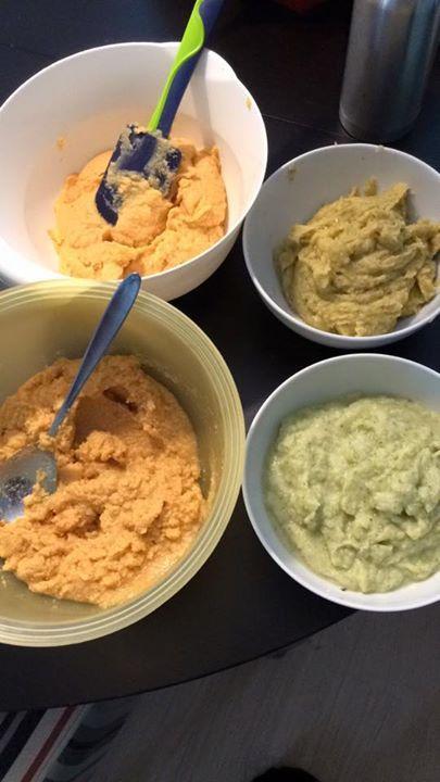Kylling med rosmarin, søtpotet, potet å kålrot Kylling med karri, søtpotet, potet og kålrot Torsk med pepper, søtpotet, potet og brokkoli  Torsk med grønn pesto, potet og brokkoli