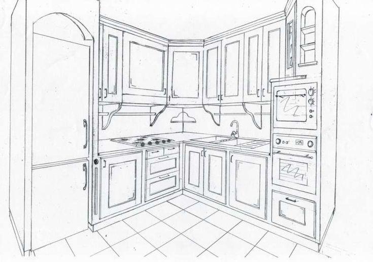 Disegno Tecnico in 3d Realizzato a Mano della Cucina in Finta Muratura Artigianale