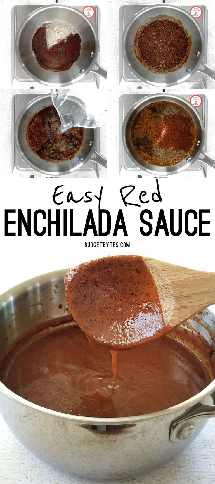 It only takes 10 minutes to make this super easy red enchilada sauce that is bursting with flavor. Never buy the canned stuff again! BudgetBytes.com