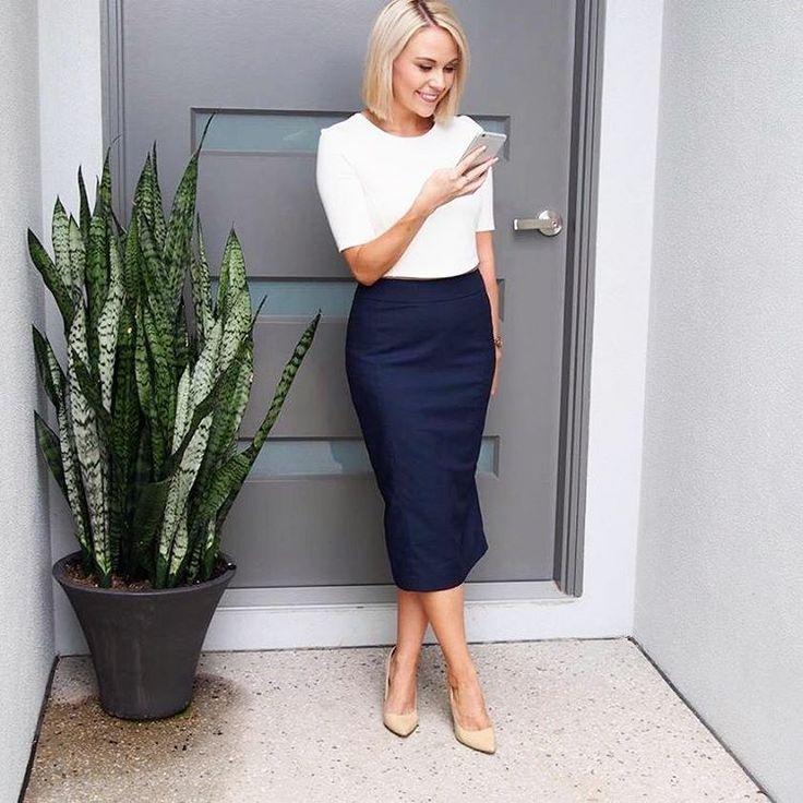 Office style @twocorporategirls navy skirt