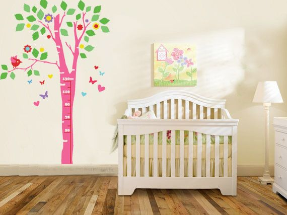 Whimsical Wall Stickers - Pink Poplar Grow Chart (Decal), $24.95 (http://www.whimsicalwallstickers.com.au/pink-poplar-grow-chart-vinyl/)   This pink poplar tree growth chart is a beautiful way to chart the growth of your child. Featuring butterflies, love hearts, flowers and birds.    Contents:  sticker parts and transfer paper  Size: when installed: 1.5m x 60 cm (estimated)   Material: Vinyl  Colours:  Also comes in Blue