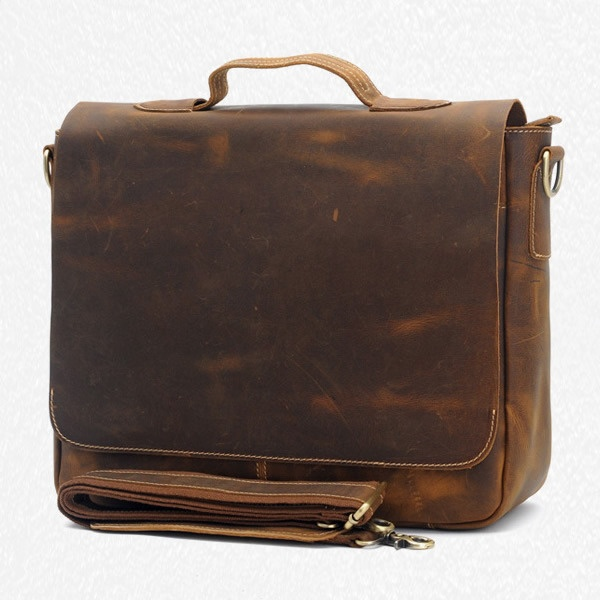 "Vintage Handmade Crazy Horse Leather Briefcase / Messenger / 13"" 14"" 15"" Laptop 13"" 15"" MacBook Bag  