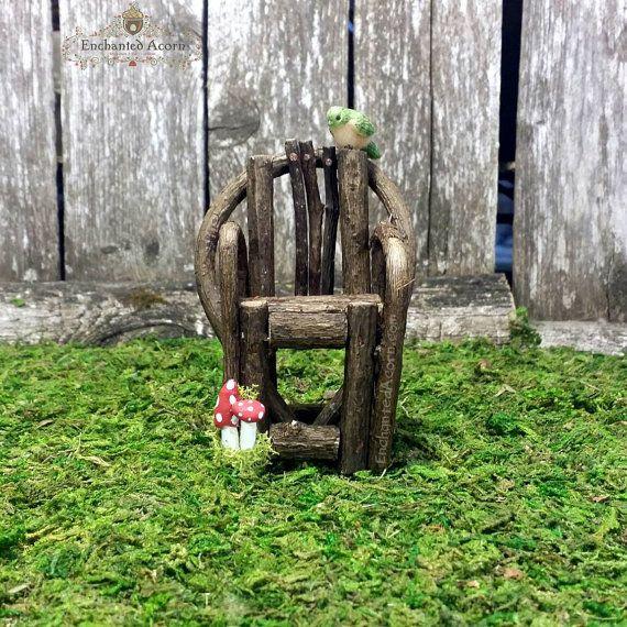 Woodland Fairy Garden Chair with Miniature Mushrooms   Tiny Bird   Fairy Garden  Furniture  Miniature Garden Accessories  Dollhouse Accessory. 25  unique Fairy garden furniture ideas on Pinterest   Diy fairy