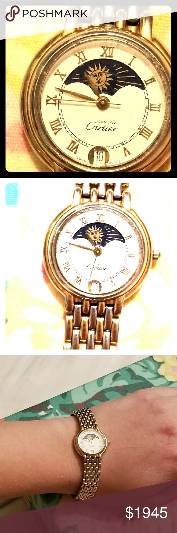💯CARTIER-VINTAGE PANTHERE 18K MOONPHASE WATCH😍 💯AUTHENTIC CARTIER-VINTAGE PANTHERE 18K YELLOW GOLD & STAINLESS STEEL, SANTOS GALBEE  MOONPHASE, LADIES WATCH😍🔥EXCELLENT WORKING CONDITION. WHITE COLORED DIAL WITH GOLD ROMAN NUMERALS AND MOONPHASE INDICATOR. HARD TO FIND/RARE! 100% FUNCTIONAL. So beautiful!! Bundle & SAVE! (OPEN TO TRADES & OFFERS) Cartier Accessories Watches