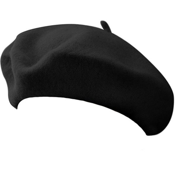 Classic French Artist 100% Wool Beret Hat Black (€7,74) ❤ liked on Polyvore featuring accessories, hats, headwear, wool beret hat, wool hat, woolen hat, wool berets and beret hat