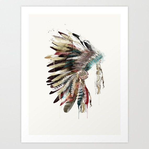 The Headdress .retro colorful native headdress Giclee fine art print for home decor.color your world