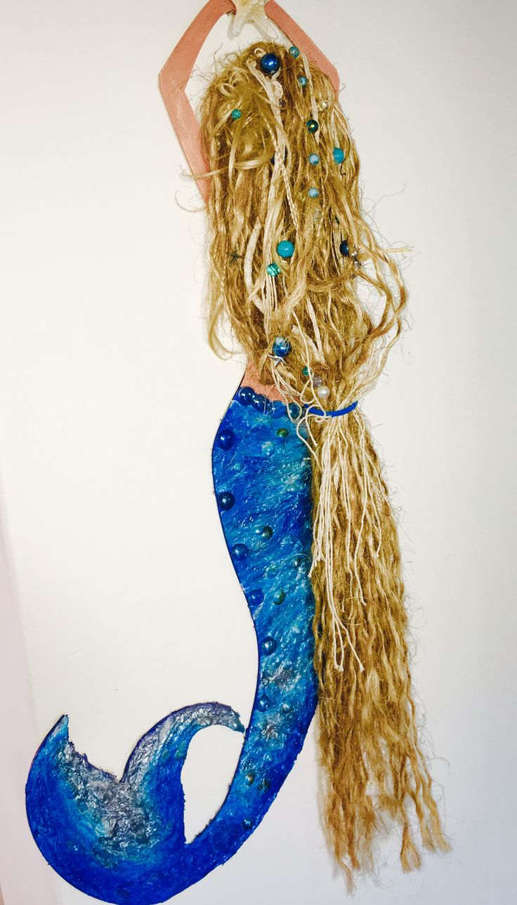 Mermaid art. 95cm and lifelike hair, full of ocean debris