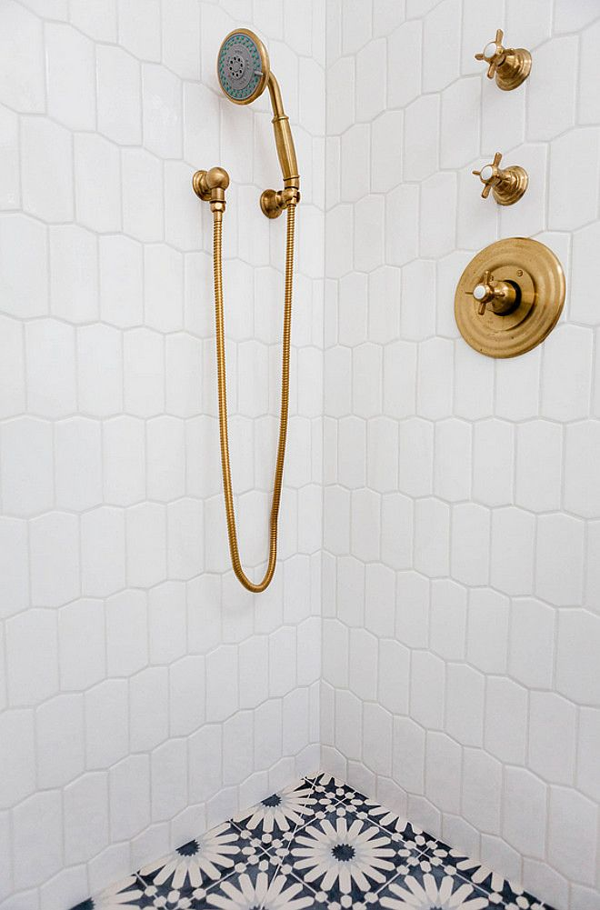 The shower brass faucets are from Newport Brass and the finish is Forever Brass. #BrassShowerFaucet