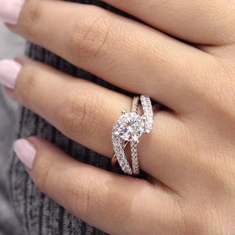 "Gabriel ""Zaira"" 14K Two-Tone White & Rose Gold Twist Diamond Engagement Ring"