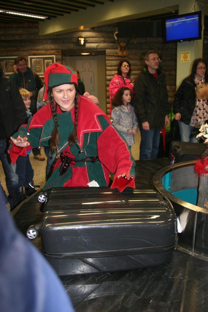Elves at the airport! Ivalo, Lapland, Santa's Lapland, Father Christmas, Santa Claus, Finland, Christmas, snow, http://globalmousetravels.com/2013/12/trip-review-lapland-santas-lapland/