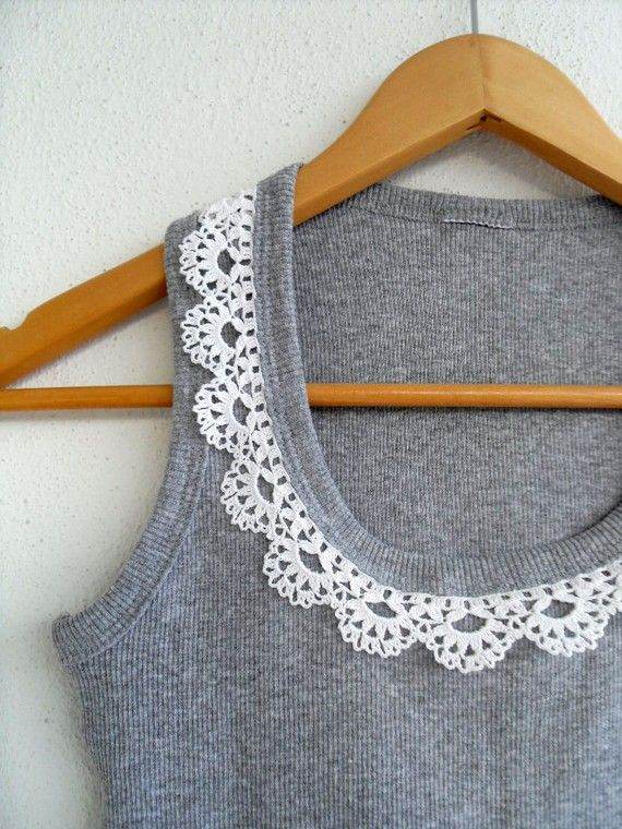 Crocheted Lace Collar Cotton Yarn Top, Blouse, Tunic, Gift For Her, White And Grey Gray