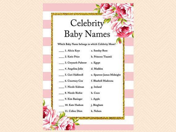 beroemdheden babynamen, beroemdheden moeder spel, beroemde babynamen, Pink chic baby shower spellen Printables, Instant download TLC50