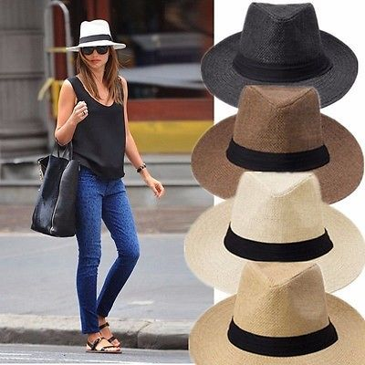 Men Women Fedora Wide Brim Straw Trilby Cap Unisex Panama Summer Beach Sun Hat N