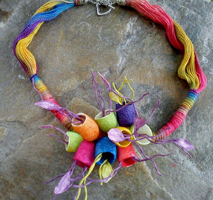 handmade silk cocoons jewelry - necklace No49a