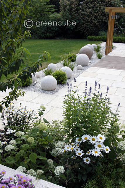 You can bring interest into a garden and keep it low maintenance by using aggregates and ornaments/art. Here stone balls, also available as lights.