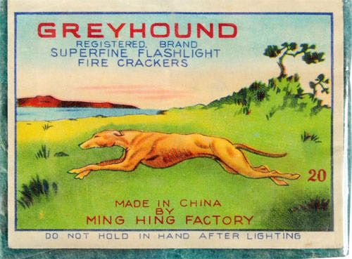 "This is a perfect example of a cross-collectible. Dog lovers, specially those how collectGreyhound memorabilia would definitely be interested in something like this.   Greyhound 20-Pack Firecrackers   Class 1. Manufactured by Ming Hing   Rarity: May be only example known   Condition: Near Mint   Size 3 - 1/8"" x 2 - 1/2"""
