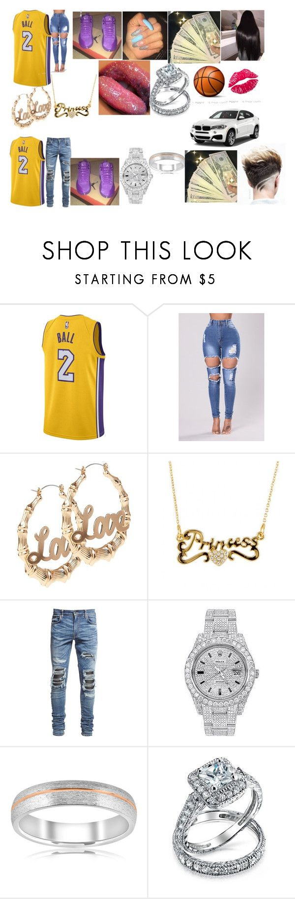 """""""Me and Bae at the Laker Game In Cali"""" by xxxmaiya ❤ liked on Polyvore featuring NIKE, AMIRI, Rolex, Bliss Diamond, Bling Jewelry and BMW"""