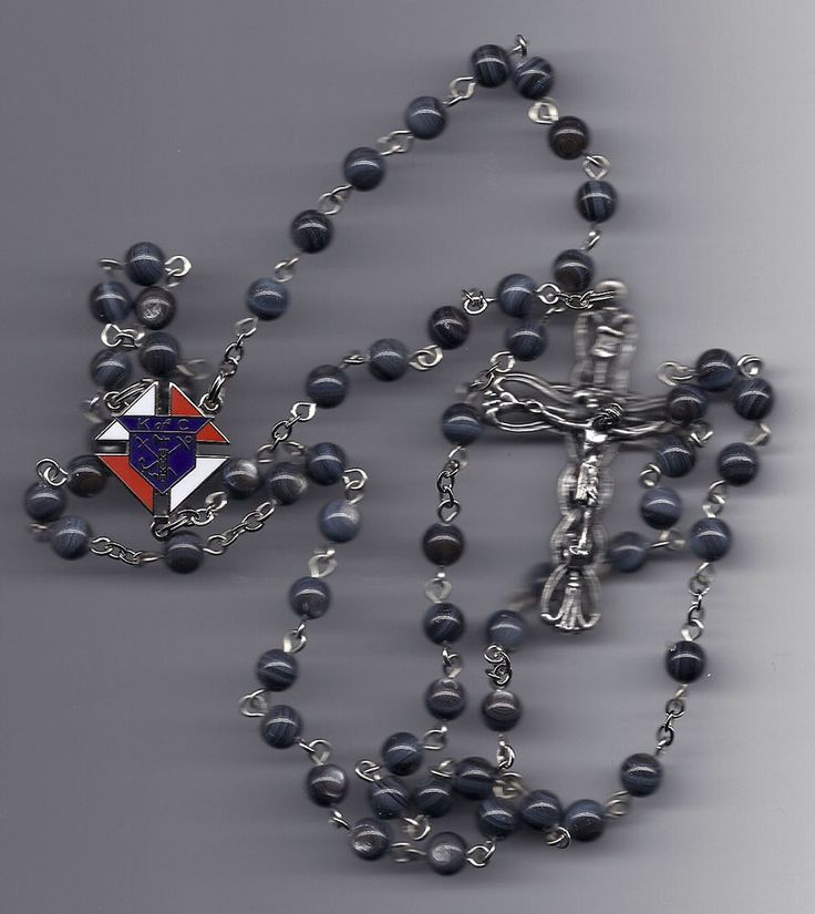 Knights of Columbus Rosary-Black Mother of Pearl Beads
