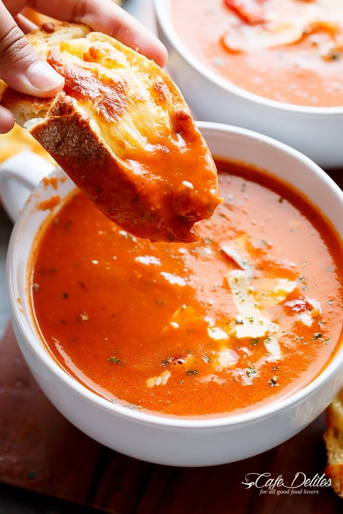 #tomatosoup #soup #roastedtomatoes Creamy Roasted Tomato Basil Soup | http://cafedelites.com