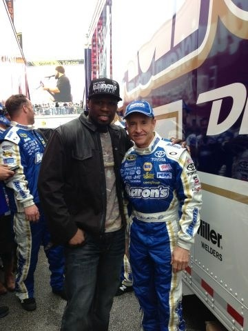 Pre-race Daytona 500, Mark Martin with 50 Cent.