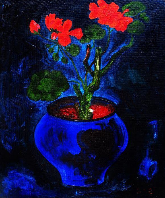 Geranium in dark blue the pot. Oil on canvas…, автор Кандинский-ДАЕ. Артклуб Gallerix