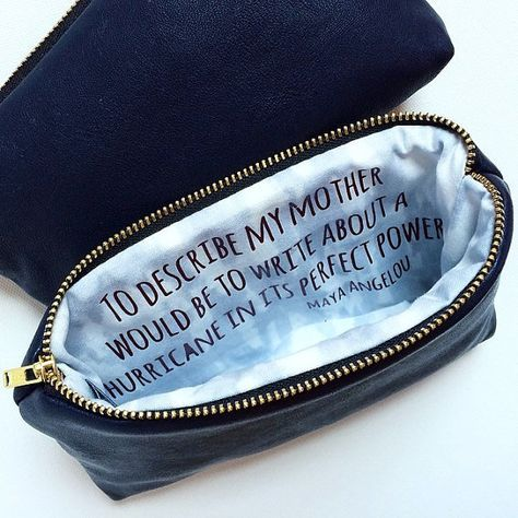 Personalized Gift for Mother of the Bride // Navy Leather Cosmetic Clutch Bag with Inspirational Quote