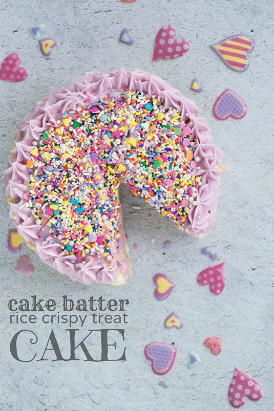A cake made out of rice crispy treats is a total win, especially when the crispy treats are flavored with cake batter.