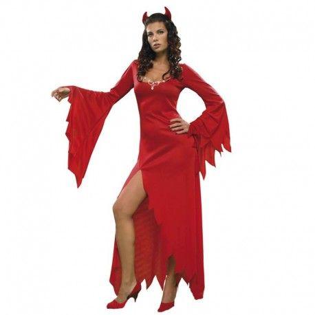 Disfraces Halloween mujer | Disfraz de demonia hechicera roja. Contiene vestido largo y diadema con cuernitos.Talla M. 17,95€ #demonia #disfrazdemonia #demoniahechicera #disfraz #halloween #disfrazhalloween #disfraces