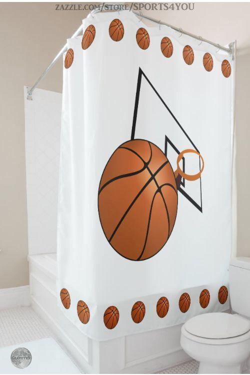 Basketball And Hoop Shower Curtain Zazzle Com In 2020 Custom