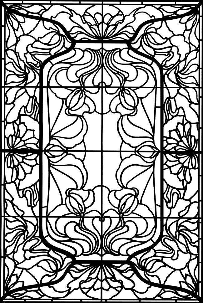 Art Nouveau Windows Stained Glass Colouring Book