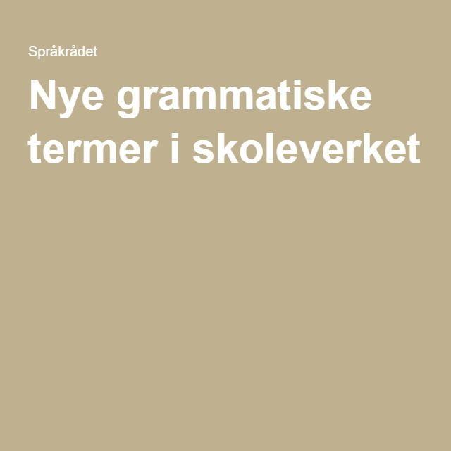 Nye grammatiske termer i skoleverket
