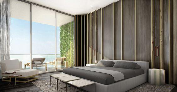 modernes schlafzimmer grau braun weiße gardinen braune vorhänge, Schlafzimmer entwurf