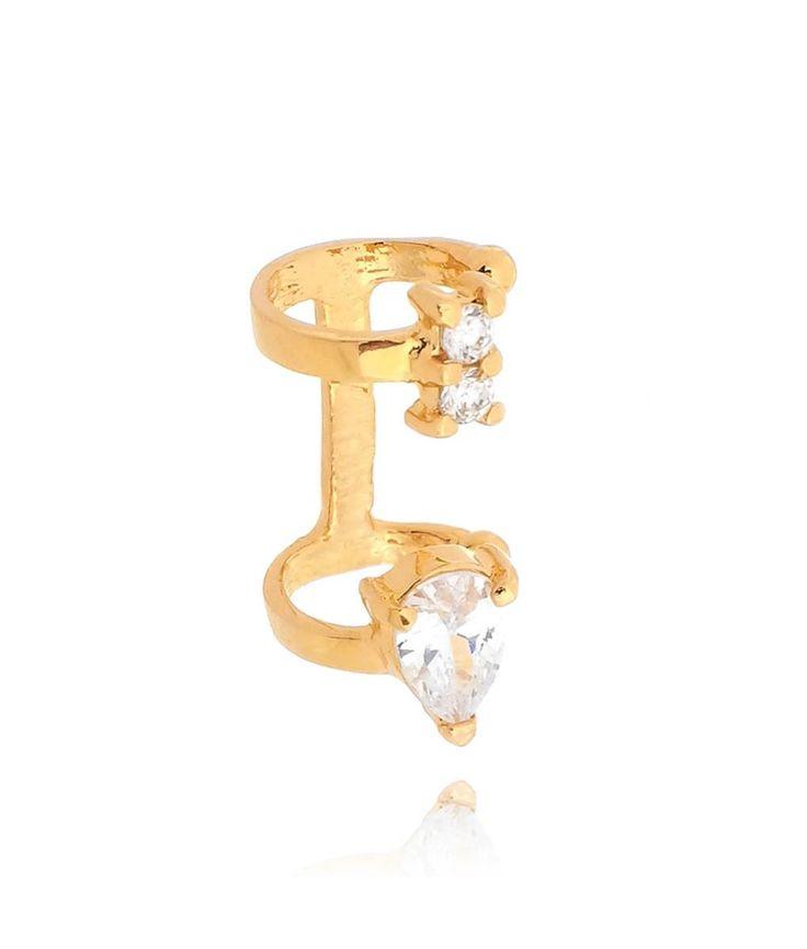 Piercing falso de gotinha em zirconia cristal banho ouro