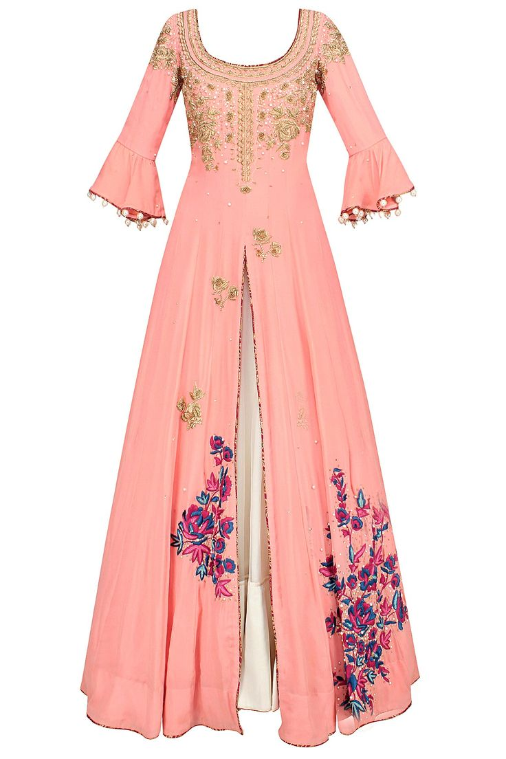 Surreal rose floral embroidered anarkali kurta and lehenga skirt set available only at Pernia's Pop Up Shop.