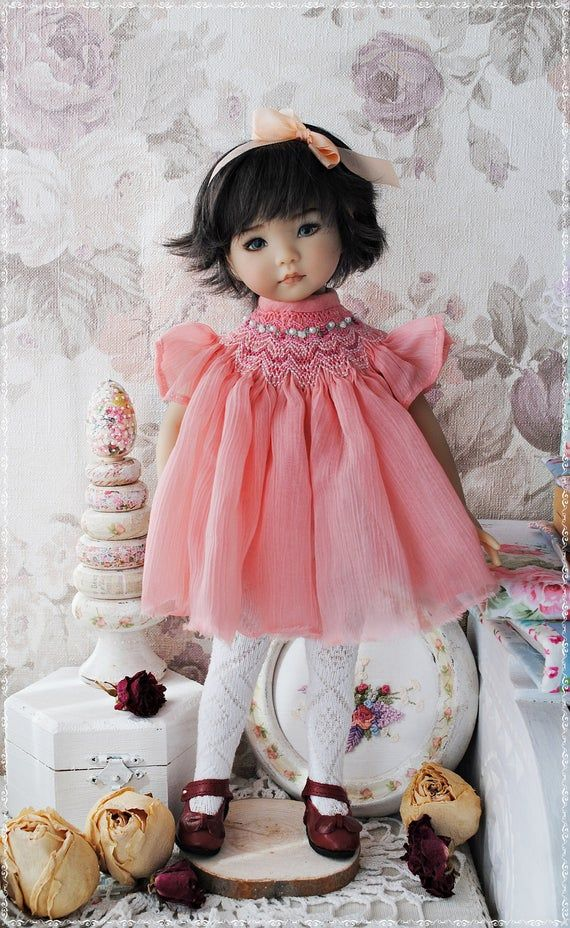 silk chiffon Smocked Dress For Dianna Effner Little Darlings 13 Inch Clothes for doll pink dress outfit for doll