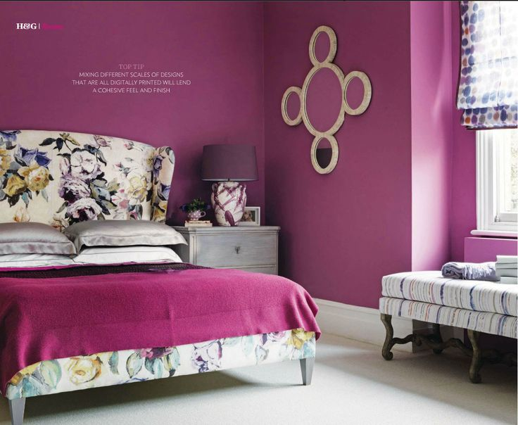 Upholstered in Headboard in designers Guild fabric with Magenta walls