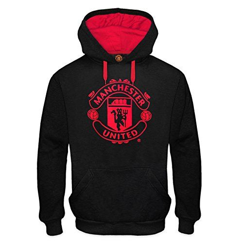 Manchester United FC Official Soccer Gift Mens Fleece Hoody Black Small