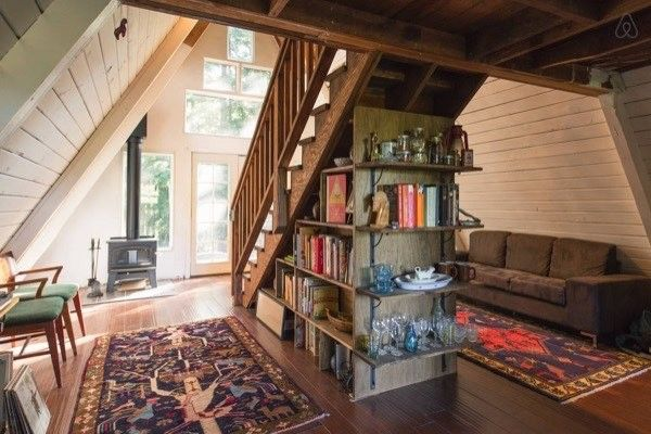 This beautiful, cozy and tiny A-frame cabin in the redwoods is available to rent. Cazadero, California | Tiny Homes