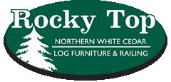 Rocky Top Northern White Cedar Log Furniture and Log Railing Logo Graphic